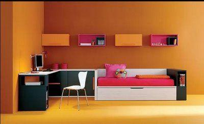 Dormitorio juvenil color mandarina negro y fucsia for Programa diseno habitaciones