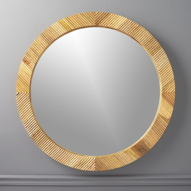 Shop Darron Round Light Wood Mirror 40 Real Mango Wood Makes The
