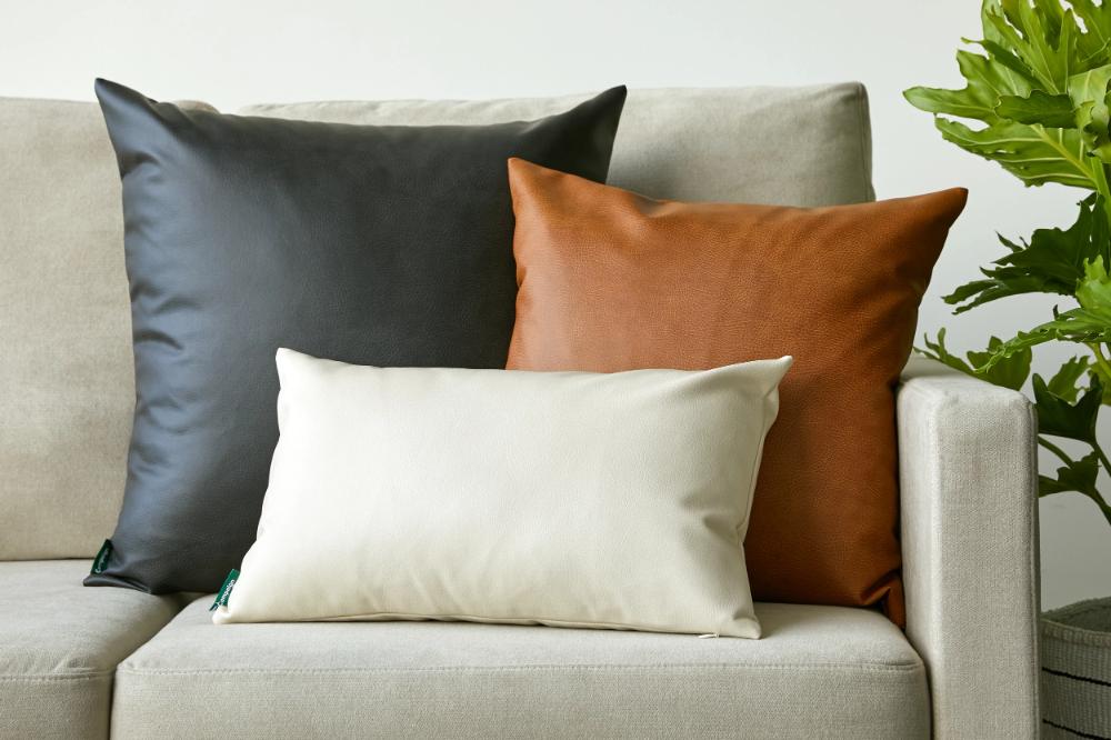 Handmade Ottoman Pillow with Vegan Leather Tops