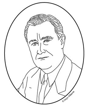 franklin d roosevelt 32nd president clip art coloring page or mini poster