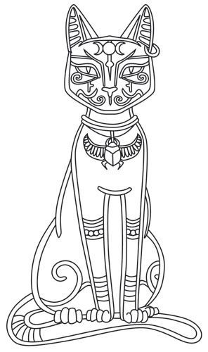 Bast Egyptian mythology coloring page Ancient History