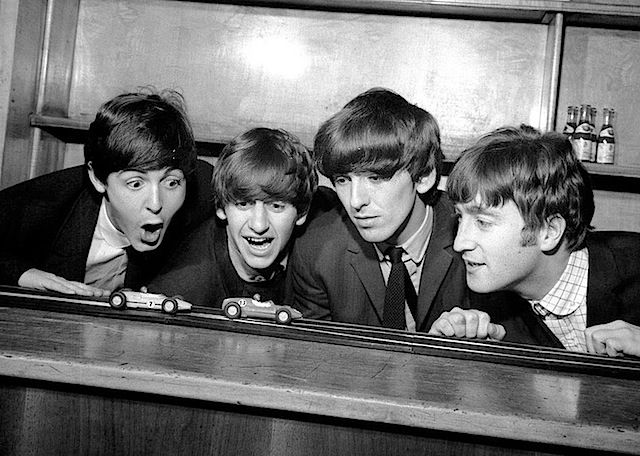 Paul McCartney, Richard Starkey, George Harrison, and John Lennon (baby you can drive my car...taken backstage at the Coventry theater)