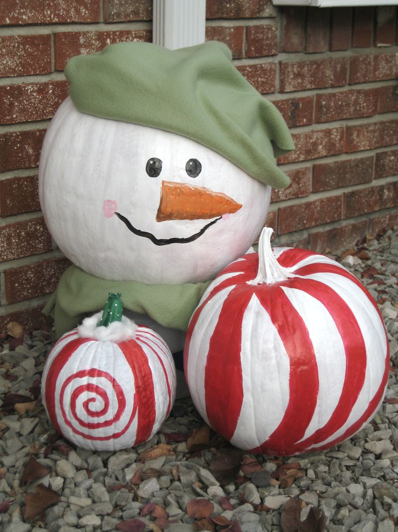 decorate your left over pumpkins from halloween for christmas - Decorating Pumpkins For Christmas Ideas