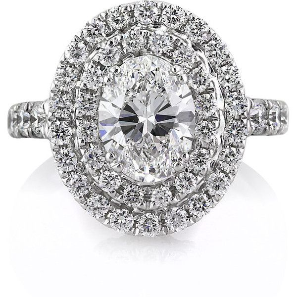 Mark Broumand 3.56ct Oval Cut Diamond Engagement Ring (€27.245) ❤ liked on Polyvore featuring jewelry, rings, engagement ring, wedding rings, white, engagement rings, oval cut diamond ring, white diamond ring, filigree ring and diamond engagement rings