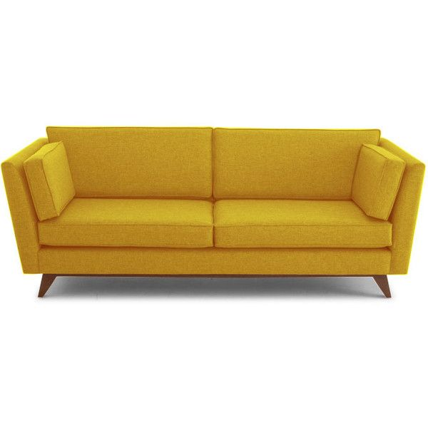 Chaise Lounge Sofa Joybird Roller Mid Century Modern Yellow Leather Sofa RSD liked on Polyvore