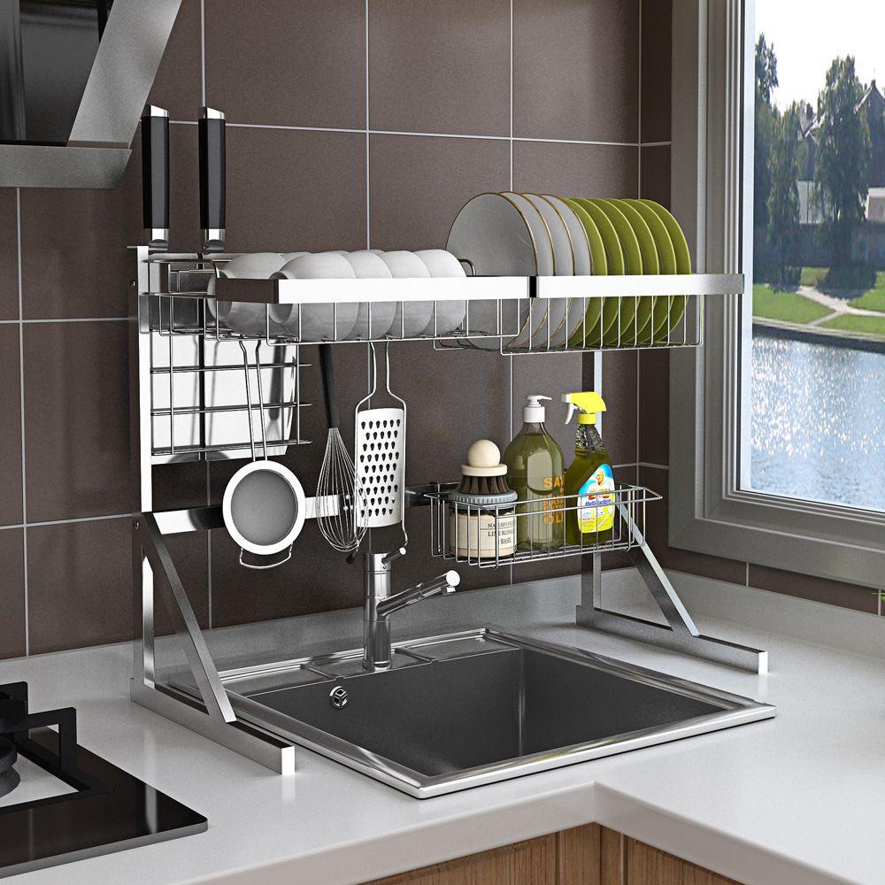 Multifunctional Corner Sink Drain Rack Shelf Kitchen Storage Organizer 3 colors