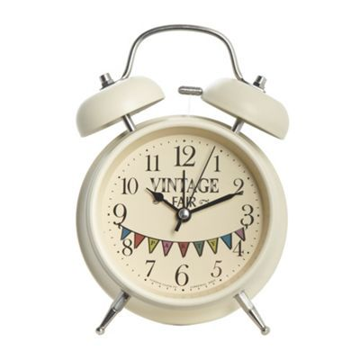 London Clock Cream metal 'Vintage Party' classic alarm clock- at Debenhams.com