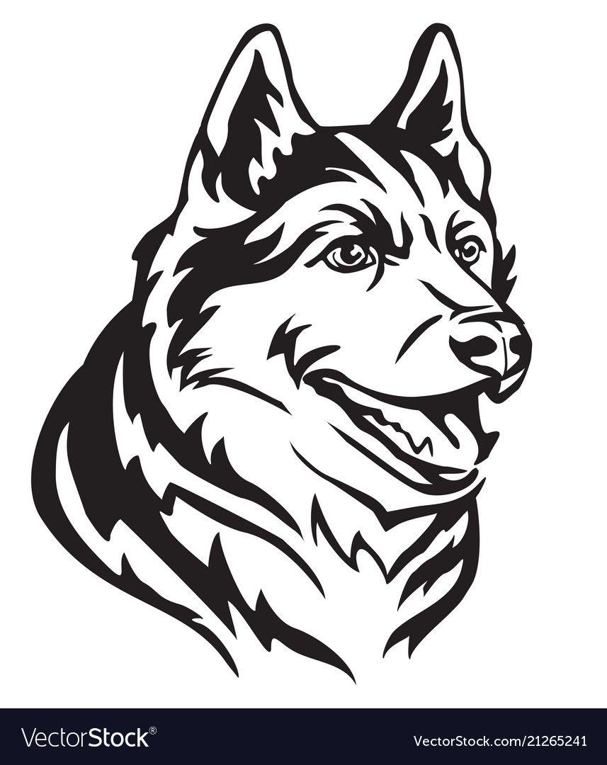 Decorative Portrait In Profile Of Dog Siberian Husky Vector Isolated Illustration In Black Color On White Background I Husky Tattoo Siberian Husky Dog Tattoo [ 1080 x 857 Pixel ]