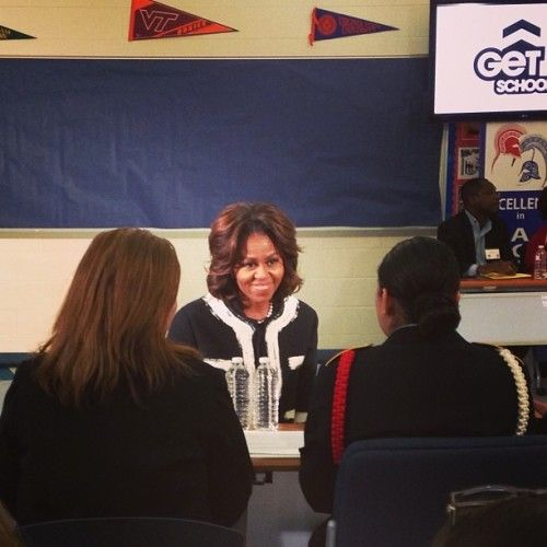 Today, First Lady Michelle Obama met with seniors at TC Williams High School in Alexandria, Virginia to encourage students to complete the Free Application for Federal Student Aid (FAFSA). As the First Lady said: No matter where you come from or how much money your family has, I want you to know that you can succeed in college and get your degree and then go on to build an incredible life for yourself. -Michelle Obama     https://twitter.com/NerdyWonka/status/431181258383585280/ https:/…