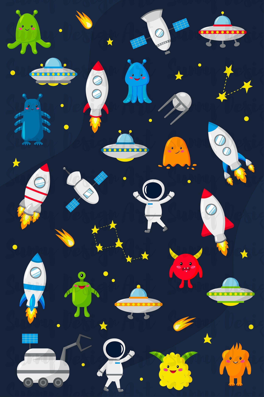 Vector Space Clipart Digital Clip Art Png Images Digital Astronaut Solar System Kawaii Clipart Commercial Use Aliens Rocket Clipart Space Artwork Vintage Flowers Wallpaper Clip Art