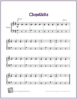 Chopsticks With Images Easy Piano Sheet Music