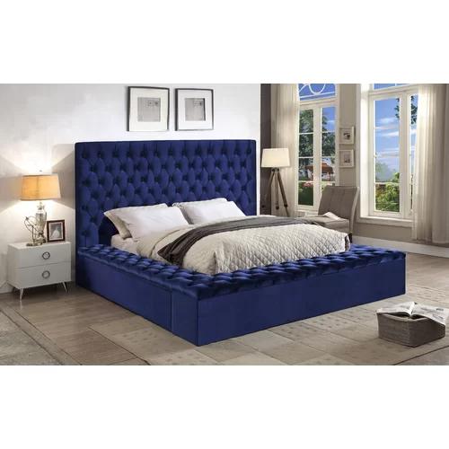 Upholstered Platform Bed, Blue Velvet Queen Bed With Storage