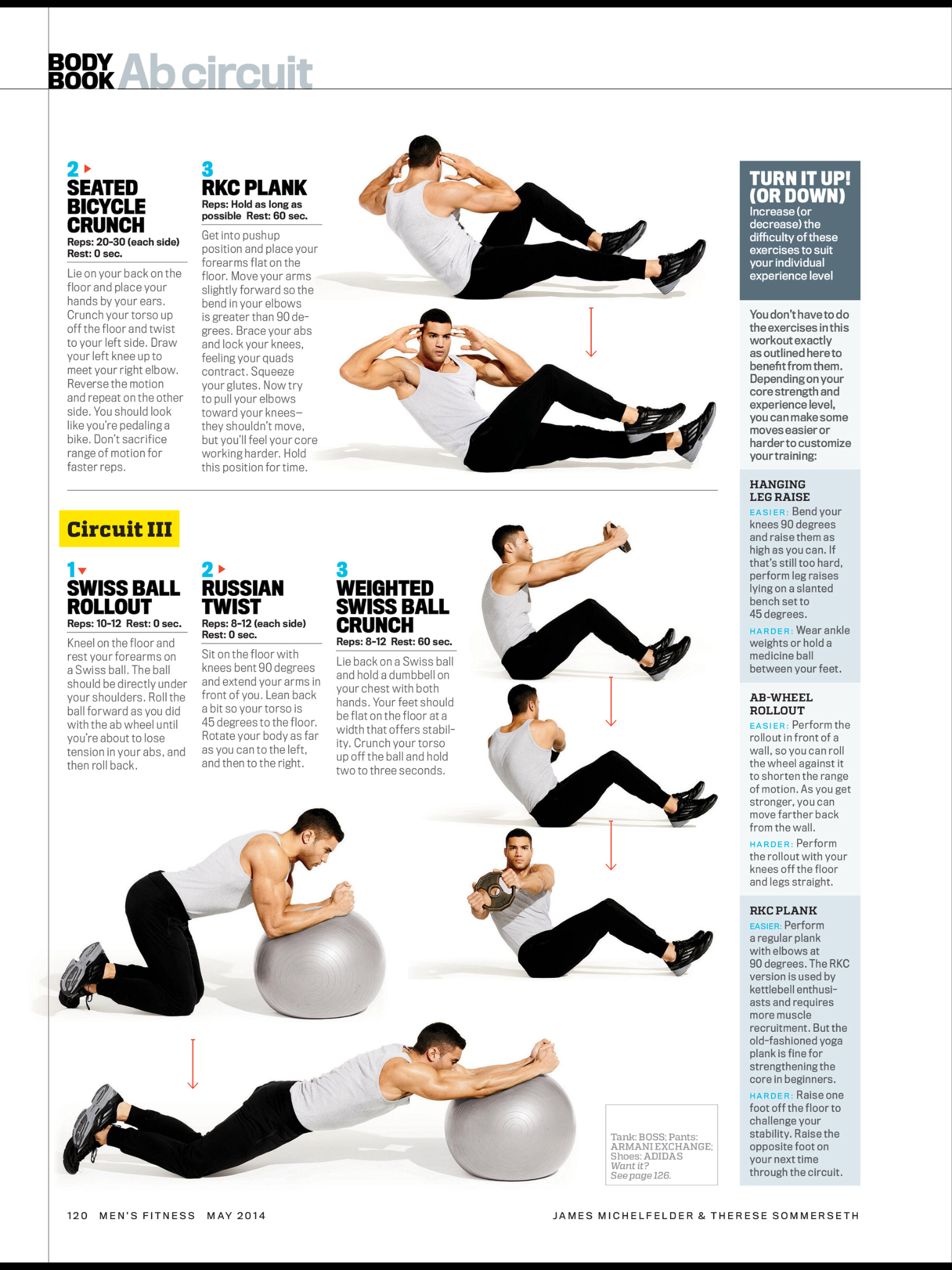 Ab Circuit Seated Bicycle Crunch Rkc Plank Swiss Ball Rollout