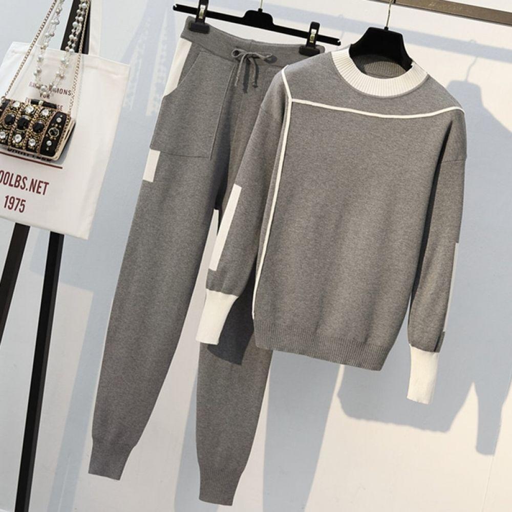 بدلة رياضية أنيقة سترة خريفي مع بنطلون رياضي موسم الربيع والخريف In 2020 Tracksuit Women Long Sleeve Pullover Sweater Plus Size Tracksuit