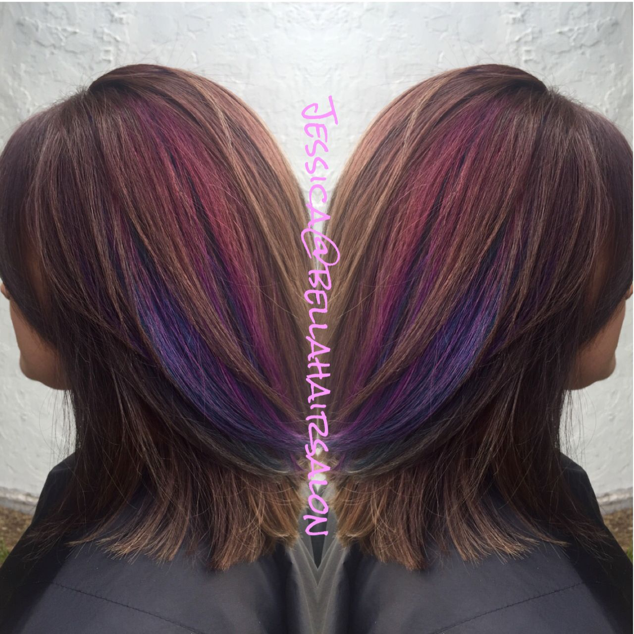 Brown With Purple And Pink Peekaboos Peekaboo Hair Purple Highlights Brown Hair Underlights Hair