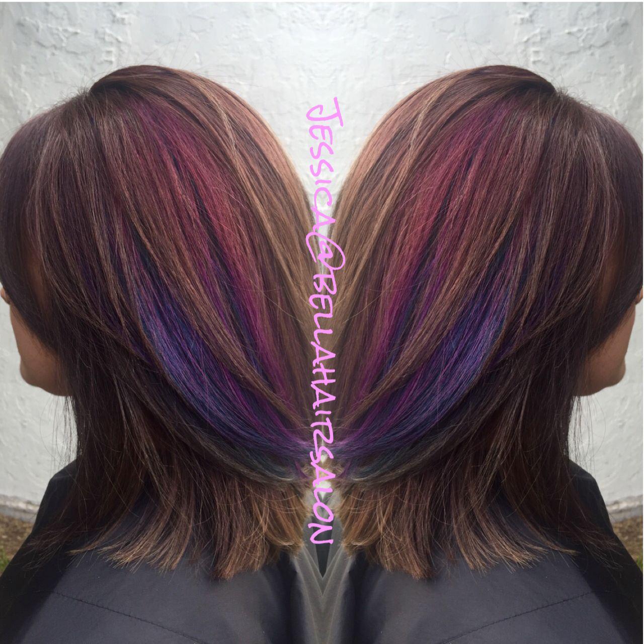 Brown With Purple And Pink Peekaboos Peekaboo Hair
