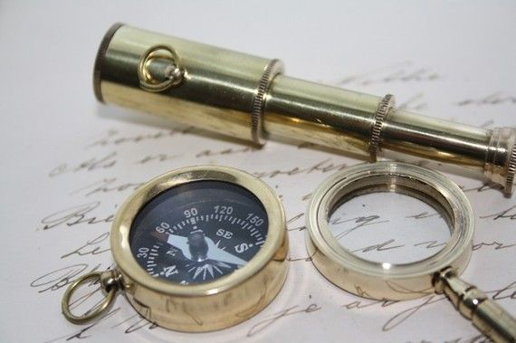 Sherlock Holmes kit - 3 pieces - Spyglass and Magnifying Lens and Compass on Etsy, $24.71