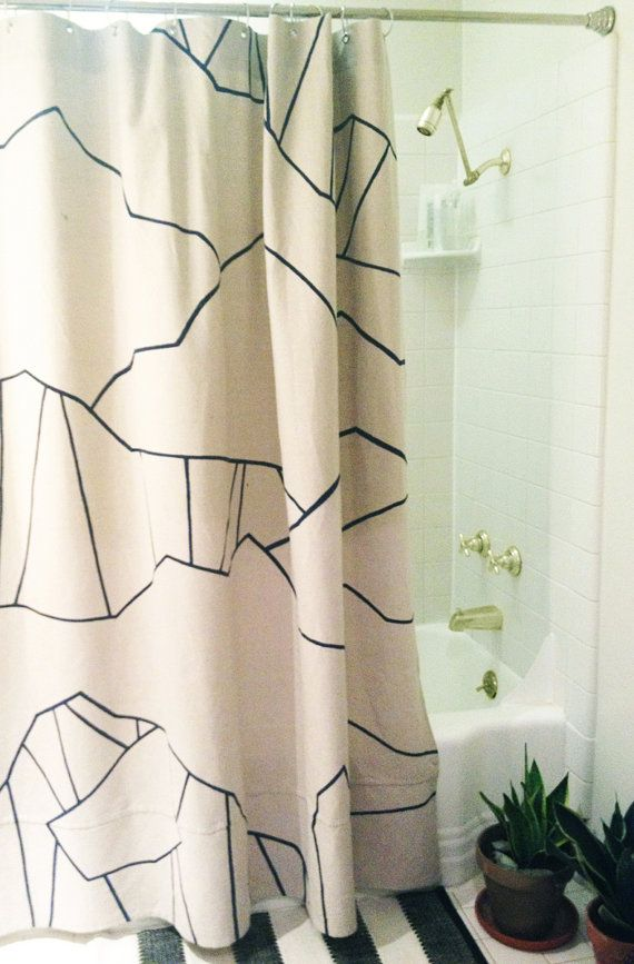 HandPainted Canvas Shower Curtain Mountain Topography Lines Painted In Acrylic On Cotton Fabric
