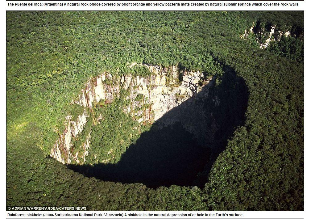 Este buraco na selva amazônica fica na Venezuela, em Jaua-Sarisarianama, e se formou naturalmente