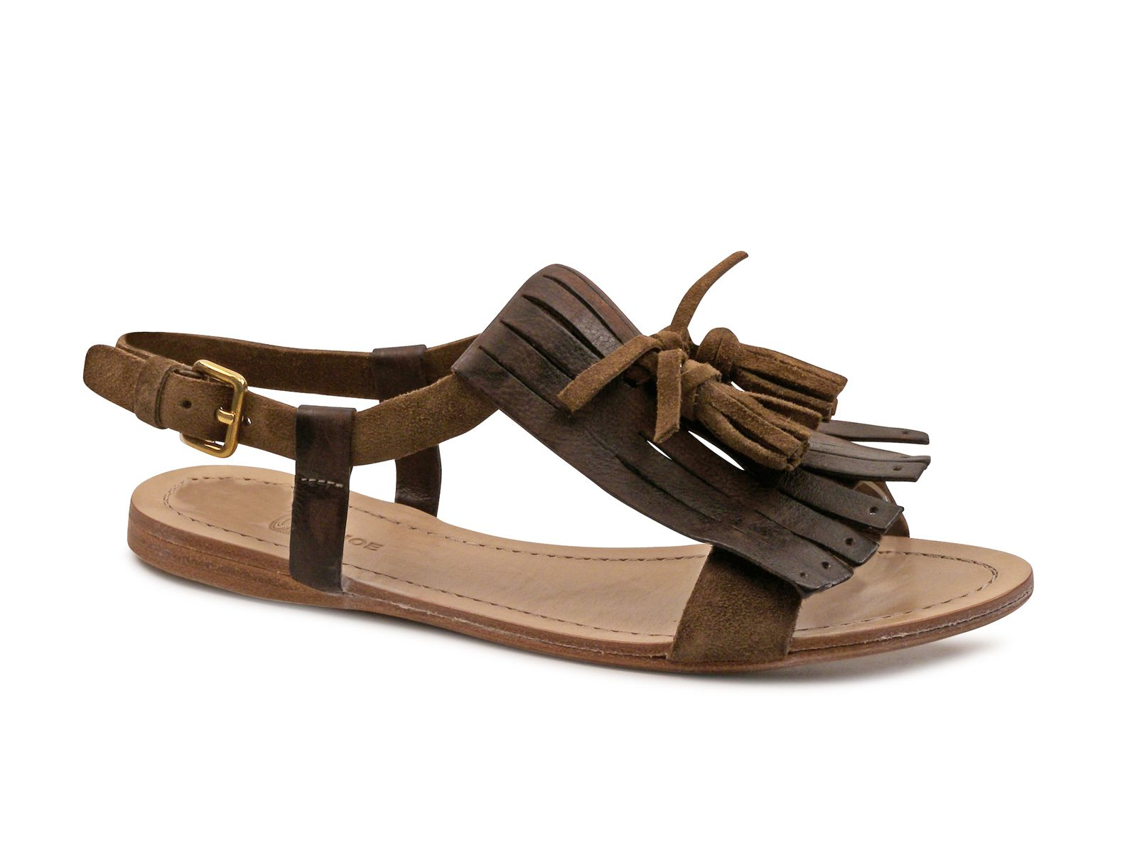 Car Shoe women brown Suede leather flat sandals shoes