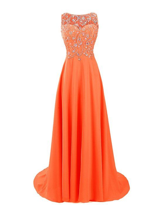 c4d7a6d8b39 Details about 8 Types Long Orange Chiffon Bridesmaids Dresses Evening Prom  Gowns Size 6-26 in 2019