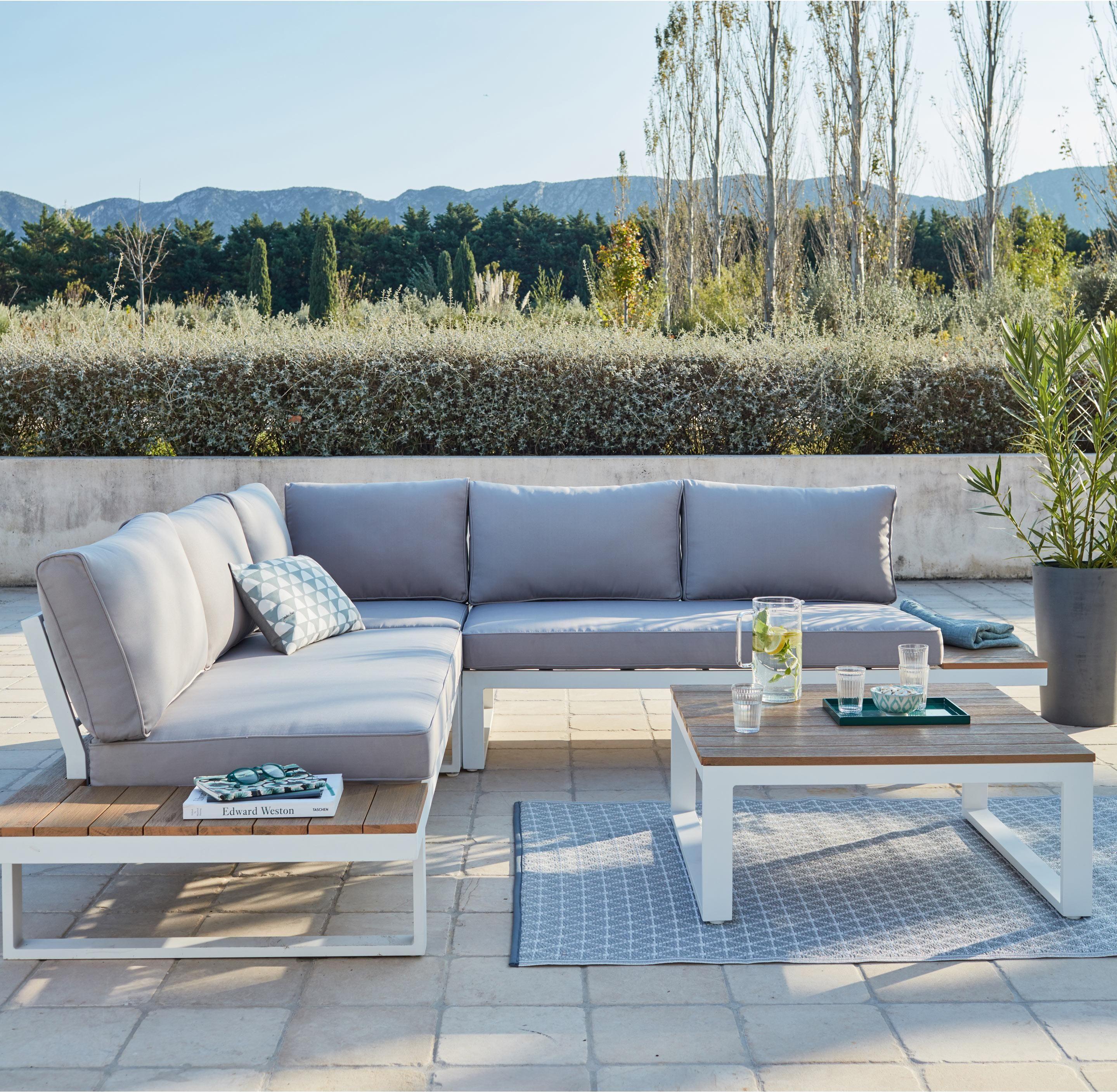 Salon Bas De Jardin San Diego Aluminium Blanc 5 Personnes Leroy Merlin En 2020 Salon De Jardin Aluminium Salon De Jardin Mobilier Jardin
