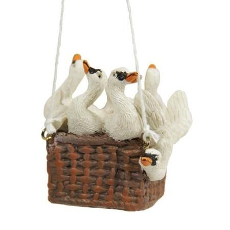 """11"""" Red and White Hot Air Balloon Twelve Days of Christmas Ornament - Seven Swans a Swimming"""