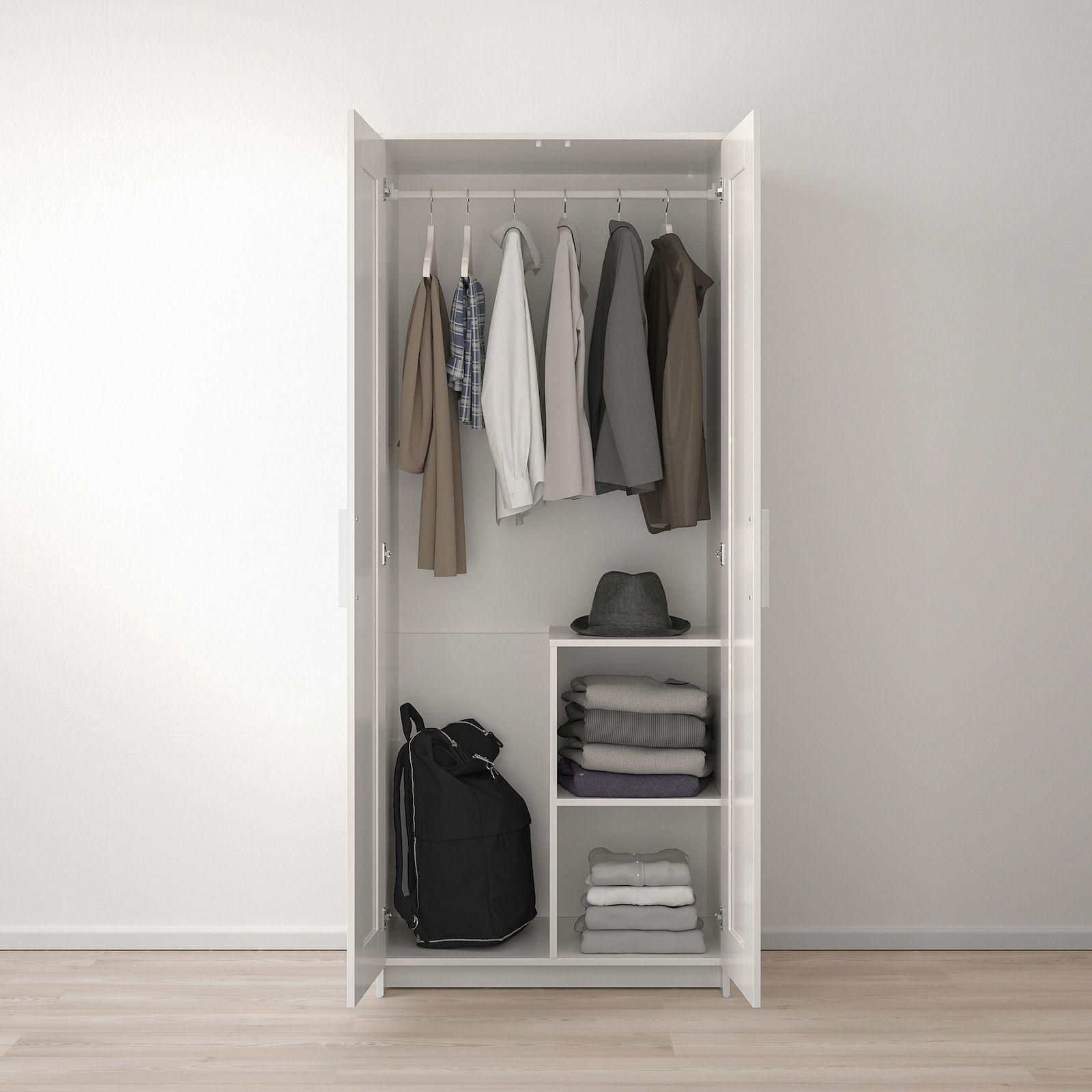Brimnes Armoire 2 Portes Blanc 78x190 Cm Ikea In 2020 Brimnes Wardrobe Portable Closet Ikea Brimnes Wardrobe