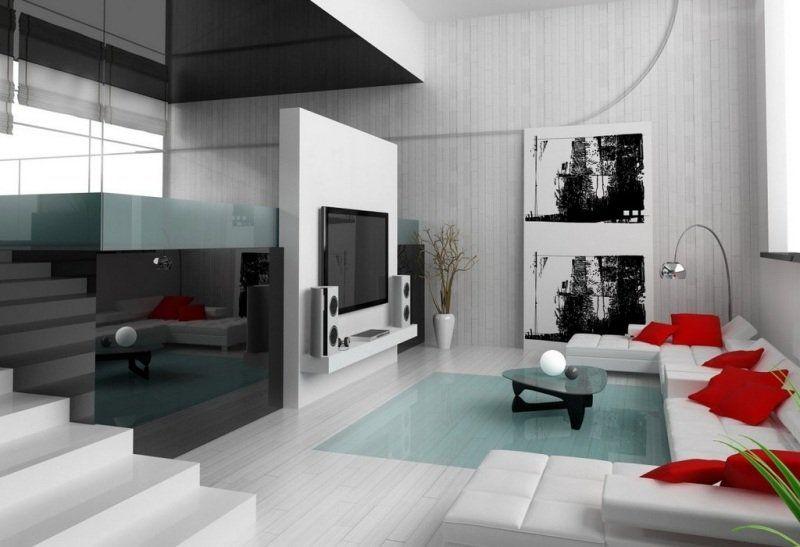 Idée déco salon ambiance zen en blanc et gris Salon moderne