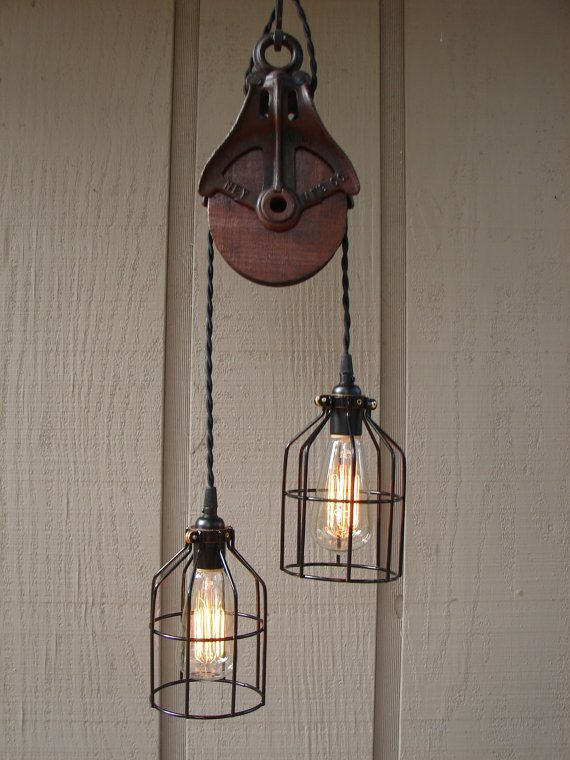 pulley pendant lighting. Upcycled Vintage Farm Pulley Lighting Pendant By BenclifDesigns, $235.00