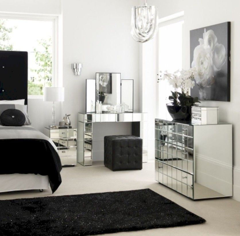 59 Amazing Black And White Bedroom Ideas Roundecor White And Silver Bedroom Silver Bedroom Mirrored Bedroom Furniture