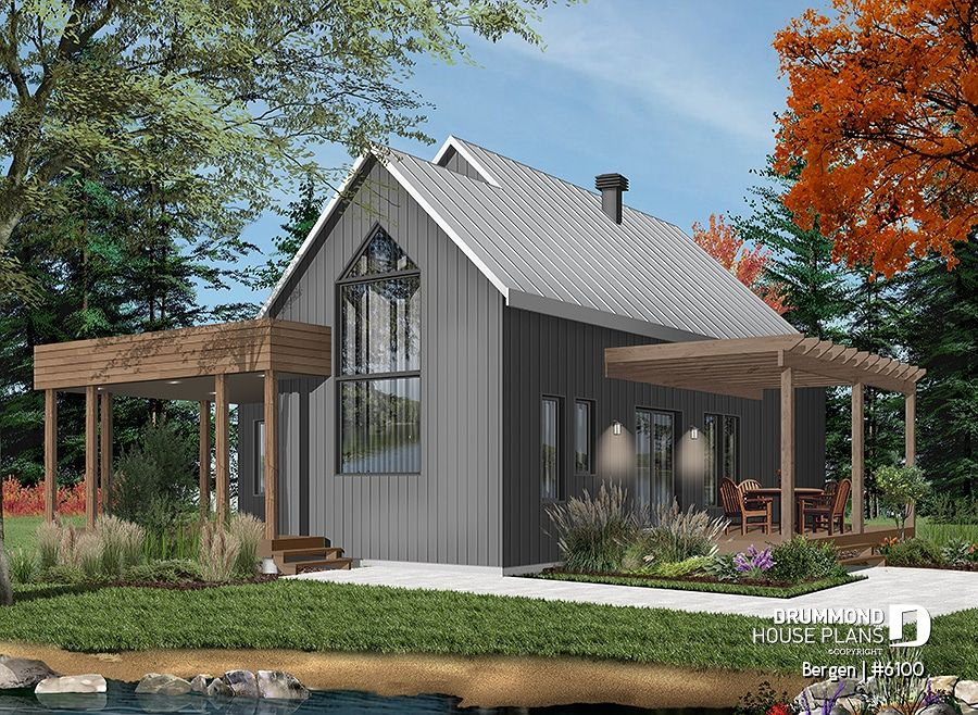 Discover The Plan 6100 Bergen Which Will Please You For Its 2 Bedrooms And For Its Scandinavian Styles In 2020 Modern Style House Plans Cottage House Plans Scandinavian Modern House