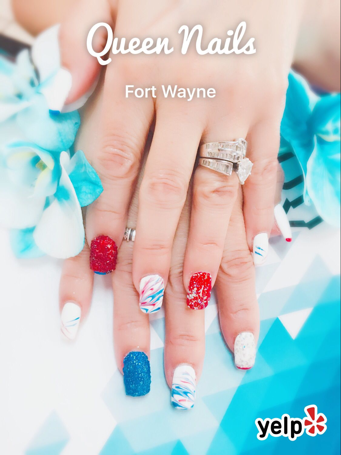 July 4 Nails designs by Rosy Doan at Queen Nails Bar & Spa | 2017 ...