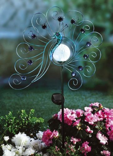 Solarfigur Pfau Metall Blau Gartenfigur Figur Dekoration Garten