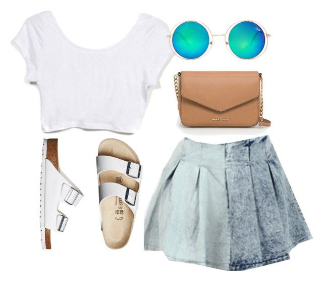 """""""dawson's creek reruns all day"""" by marn28 ❤ liked on Polyvore featuring Birkenstock, MANGO, Quay, Summer, 90s, summerstyle, summeroutfit and summerfashion"""