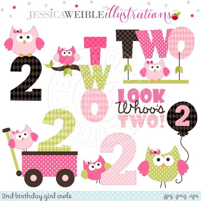 Second Birthday Girl Owls Digital Clipart - JW Illustrations