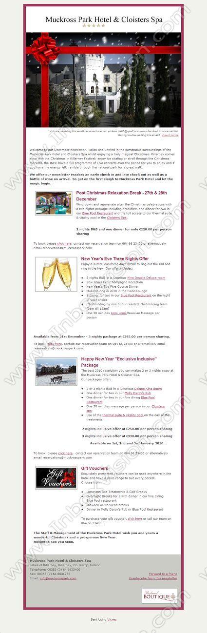 Company Muckross Park Hotel Limited Subject Christmas  New