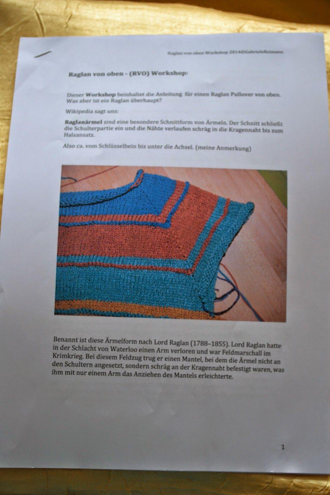 Tinas Woll Und Perlenecke Raglan Von Oben Rvo Stricken