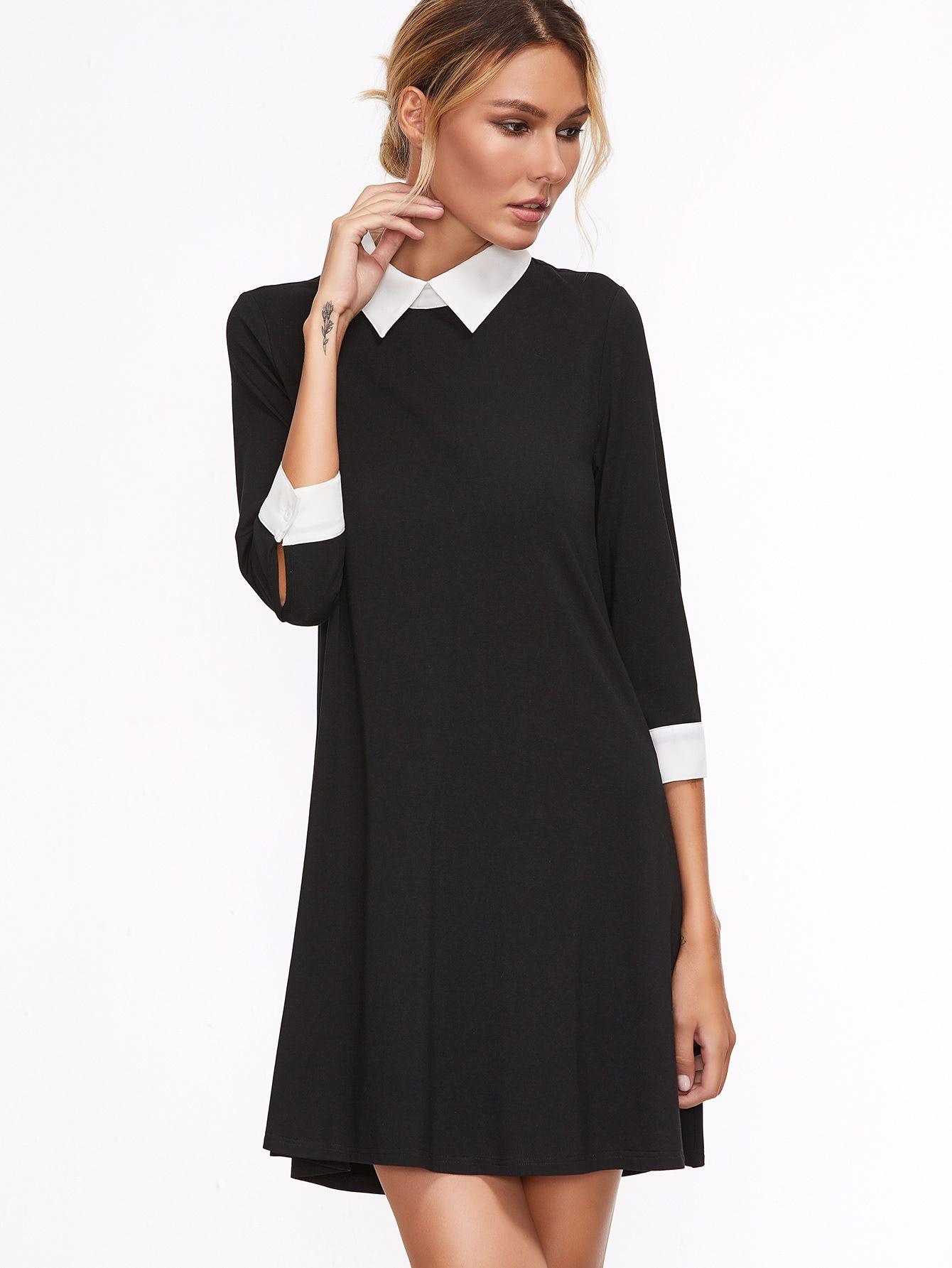 Contrast Collar And Cuff Swing Dress Contrast Collar Dress Short Dress Black Dresses [ 1785 x 1340 Pixel ]