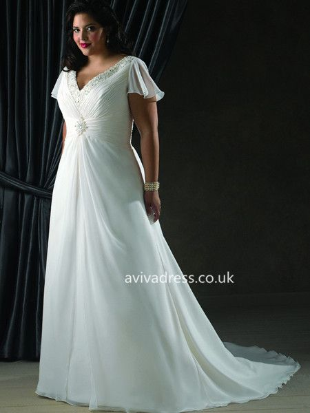 A-line V-neck Short Sleeve Chiffon White Elegant Plus Size Wedding ...