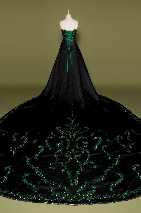 Gorgeous Gothic Goth Style Wedding Dress With Green Embroidery A Beautiful Black Bridal Gown Gothic Wedding Dress Green Wedding Dresses Slytherin Dress