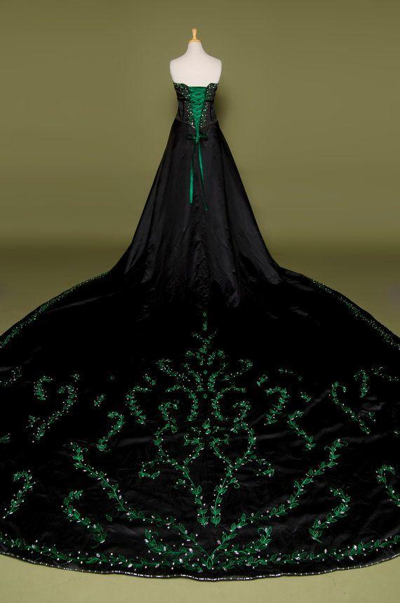 Gorgeous gothic goth style wedding dress with green for Gothic style wedding dresses