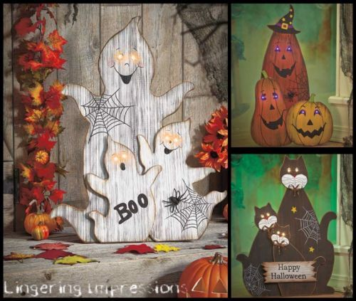Halloween-scène-Verlichte-Eyes-Ghost-Pumpkins-Cats-Holiday-Decoratie-huis-Decor