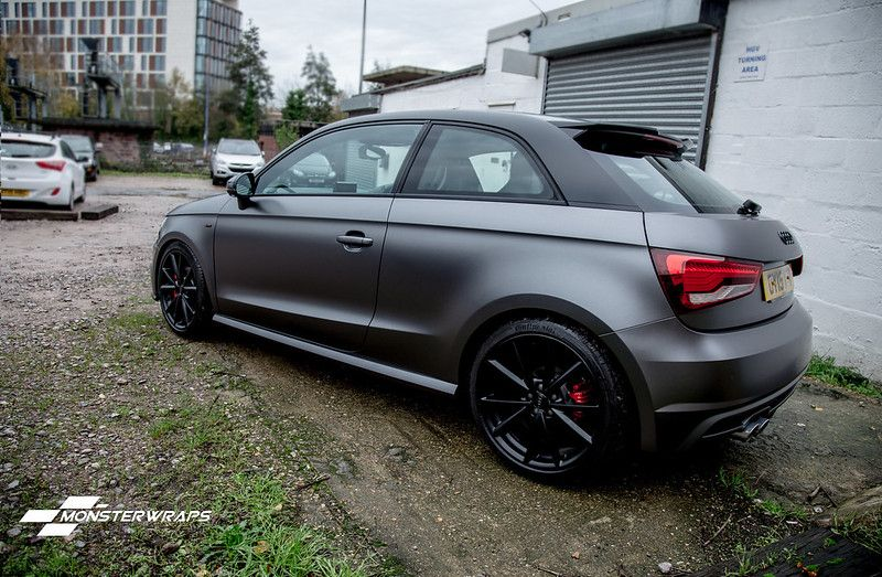 Audi A1 Satin Grey Black Full Wrap Audi A1 Black Audi Audi