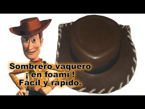 Sombrero vaquero en foami para disfraz halloween de Woody Toy Story Disn. b03b8ab3b50