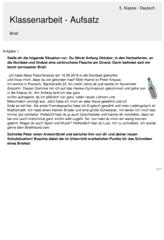 Deutsch 5 Klasse Gymnasium Klassenarbeiten Erste Klasse Aufsatz