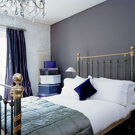 blue and gray bedrooms dark accent wall. Black Bedroom Furniture Sets. Home Design Ideas