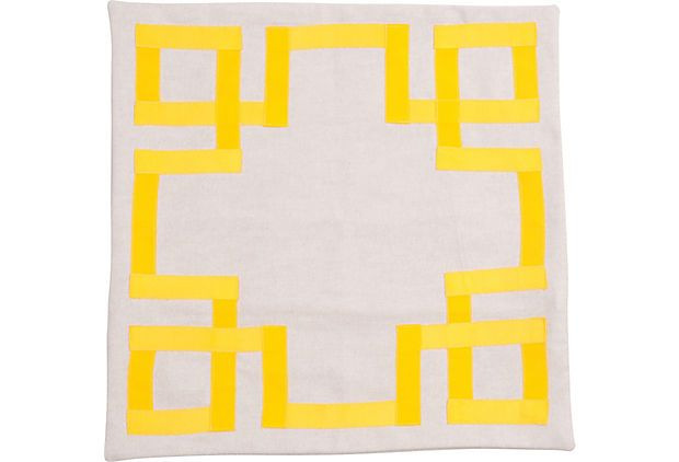 Yellow Grosgrain-Trim Pillow Sham