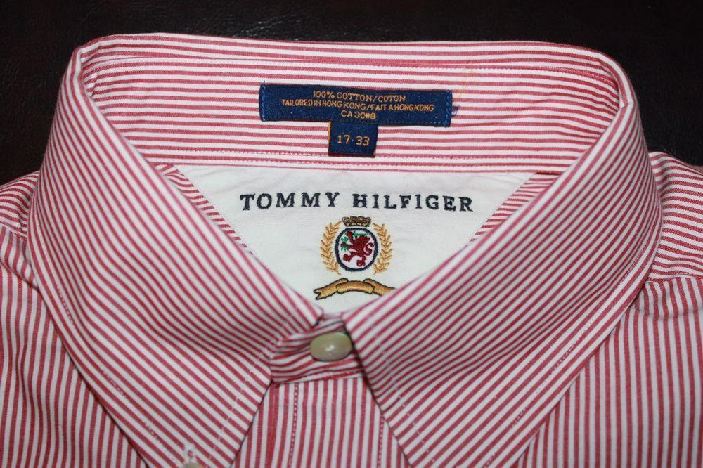 Tommy Hilfiger Men's Dress Shirt Regular Fit 1733 Red White