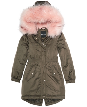 88a4d8f66 Dkny Big Girls Hooded Long Anorak with Faux-Fur Trim - Green 10-12 ...